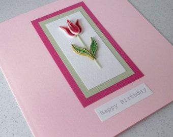 Quilled tulip happy birthday card - paper quilling, handmade, mom, mum, sister, grandma, daughter,