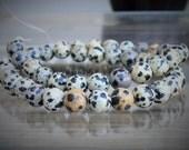Dalmatian Jasper Spotted Gemstone Beads 8mm Round Full Strand