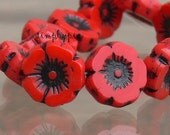Poppy Red Pansy, Pansy Czech Beads 12mm 6 Pcs Glass Flowers