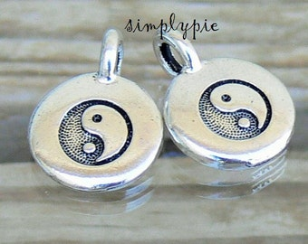 Yin Yang Pewter Charms TierraCast Antiqued Silver 2 Pcs Tin Alloy