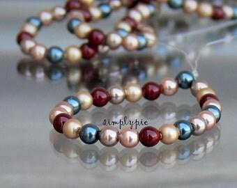 Autumn Pearl Strand, Swarovski Crystal Beads, 3mm Round 25