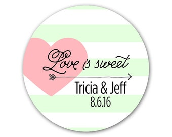 Personalized Wedding Favor Stickers - Custom Modern Labels - Wedding Stickers - Love is Sweet - Wedding Labels - Choose Your Colors