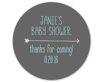 Personalized Baby Shower Stickers - Arrow Labels - Favor Stickers - Trendy Shower Labels - Baby Shower Stickers - Choose Your Colors