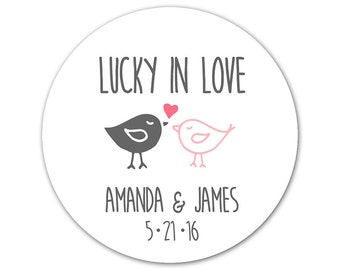 Personalized Wedding Stickers - Cute Wedding Labels - Love Bird Stickers - Favor Stickers - Casual Wedding - Lucky in Love - Wedding Birds