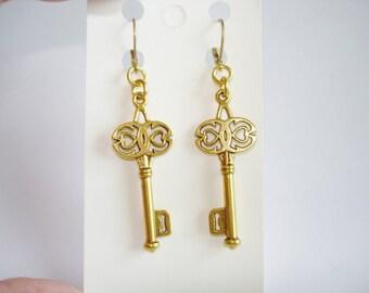 Key Earrings Gold Tone