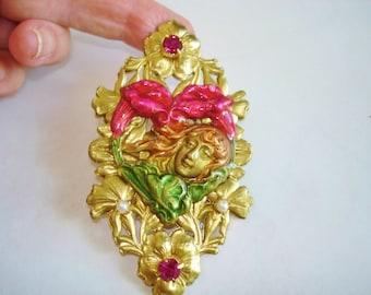 Flower Child  Rhinestone Pearl Brooch Gold Tone Art Deco