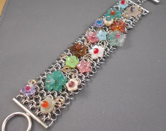 Flowers in the Rain Mesh Bracelet with Glass Flowers