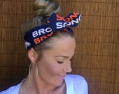 Denver Broncos Dolly Bow Reversible Navy Blue White Orange Pin Up Rockabilly Dolly Bow Tie Up Headband Headscarf Hair Head Wrap Accessories
