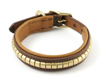 Studded Leather Dog Collar with Clinker Studs - size S