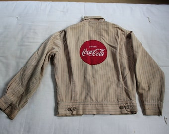 Coca Cola Delivery Jacket Employee Uniform 1950s Unitog size 36 Cloth Patch VINTAGE by Plantdreaming