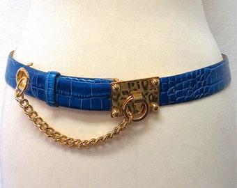 1980s Vintage Carlisle Chain & Leather Belt / Blue Reptile Embossed Belt