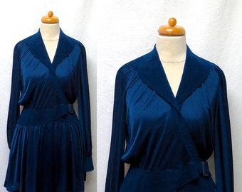 1970s Vintage Silky Jersey & Suede Dress / Sapphire Blue Mini Tunic Wrap Dress