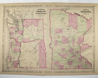 1867 Johnson Oregon Map Washington Minnesota Map 1800s Map, Historical Map, Birthday Gift for Guy, Wedding Gift for Couple, OR Map, WA Map