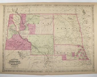 1867 Antique Map Montana, Wyoming Map Nebraska, Idaho Map Dakota Territory 1867 Johnson Map, Vintage Historical Western US Map Midwest