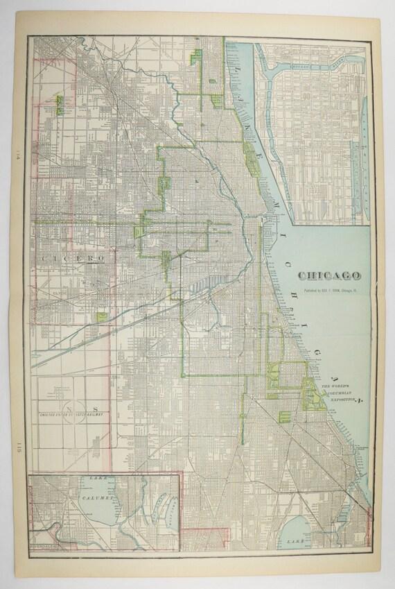 Large Antique Map Chicago 1902 Vintage City Map Kansas City