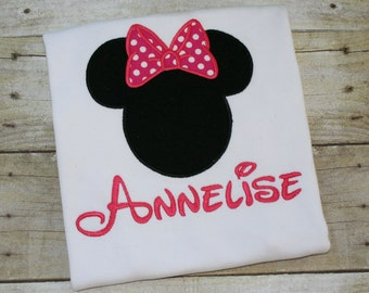 Minnie Mouse Shirt,  Personalized Minnie Shirt, Minnie Mouse, Custom Minnie Mouse Shirt, Pink Minnie Mouse, Child Minnie Shirt, Girl Mouse