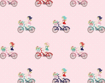 1 yard - Vintage bike ride in pink,  Riley Blake fabric.