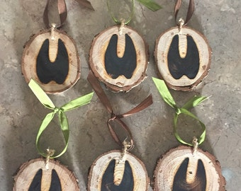 Rustic tree slice branded Christmas ornaments