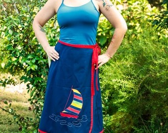 Sale reduced Vintage Nautical Sailboat Womens Wrap Skirt