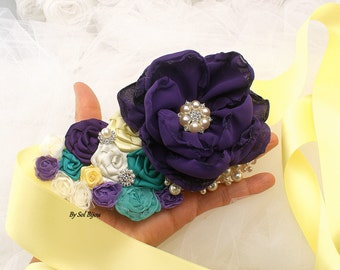 Sash, Yellow, Purple, Plum, Ivory, Turquoise, Elegant Wedding, Garden Wedding, Bridal Sash, Maid of Honor, Crystals, Satin, Pearls