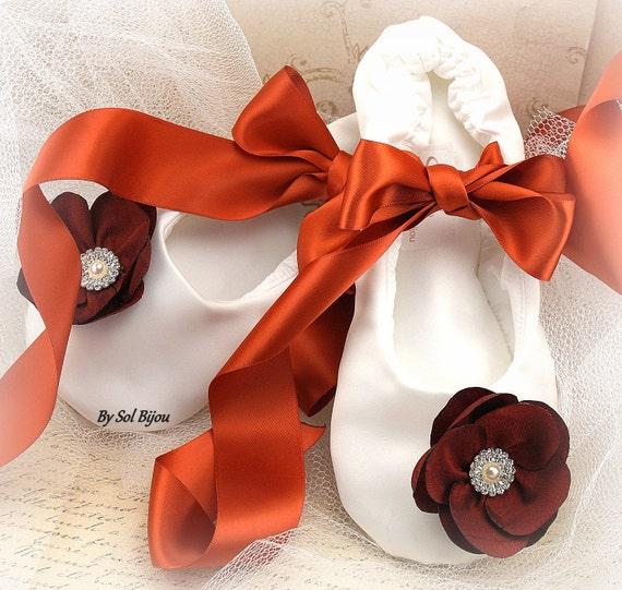 Ballet Flats, Ivory, Burnt Orange, Orange, Fall Wedding, Elegant, Bridal, Flower Girl, Maid of Honor, Lace up, Prom, Shoes, Ballerina Flats