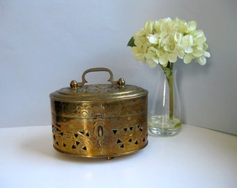 Vintage brass cricket box Potpourri metal box Trinket box