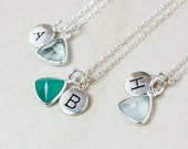Silver Initial Charm Necklace – Green Onyx, Aqua Quartz - Personalized