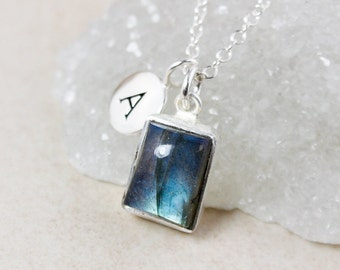 Blue Labradorite Necklace – Charm Necklace – 925 Sterling Silver