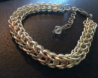 Chain Maille Bracelet , silver twist and copper rings