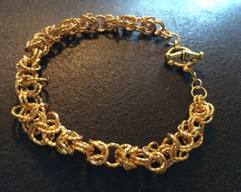 Chain Maille Bracelet , gold twist rings