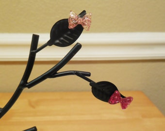 Hypoallergenic Earrings Sensitive Pink Glitter Bows Plastic Stud Post Girls Small