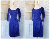 Blue Wiggle Dress - Royal Blue Satin Gown with Petal Skirt - Vintage 1960s 60s Sixties