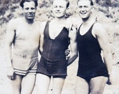 Vintage Old Photo of Men Friends in Swimsuits at Beach Vacation Mens Fashion Snapshot.