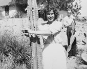 Vintage Old Photo Girl Hugging Cactus Novelty Sexy Snapshot Love From 1950s.