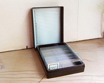 Vintage Medical Microscope Blank Glass Science Slides Bakelite Brown Lab Box by Cenco.