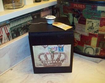 Shabby crown canister box ,organizer box ,PARIS decor,FRENCH decor,Paris bedroom decor,Paris bathroom,shabby chic