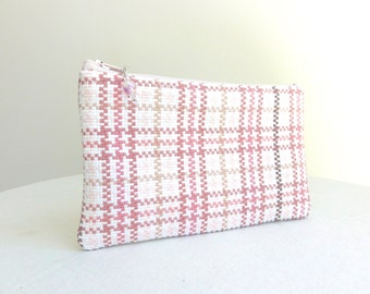 Shades of Pink Plaid Clutch / Zipper Bag - READY TO SHIP