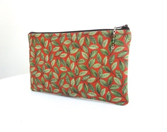 Zippered Bag in Green Ivy and Red with Beaded Zipper Pull - READY TO SHIP