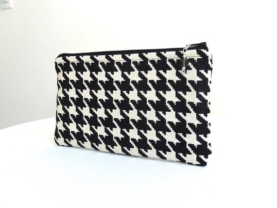 Houndstooth Clutch Purse - Black and Ivory - READY TO SHIP