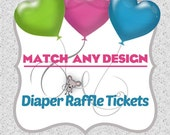 Diaper Raffle Tickets PDF file Matching Made-to-match / Baby Shower game printable ticket