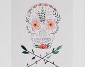 Pretty Dead - Floral Skull & Crossbones - 11 x 14 -  Art Print