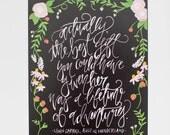 Calligraphy Art Print - Life of Adventure - Alice In Wonderland Quote - 8 x 10