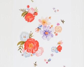 Scattered Florals - 8 x 10 - Watercolor - Illustration - Art Print