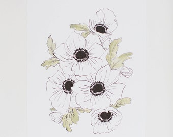 Black and White Anemones - Watercolor Floral Print  - 8 x 10