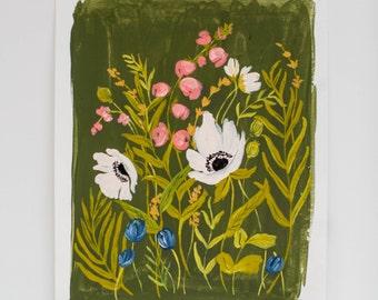 Bright Botanicals 02 - Olive Green, Salmon, & White  - 8 x 10  - Illustration - Art Print