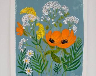 Bright Botanicals 03 - Dusty Blue, Orange, & Yellow  - 8 x 10  - Illustration - Art Print