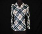 hippie navy plaid blouse.  1970's disco windowpane disco tunic. medium.