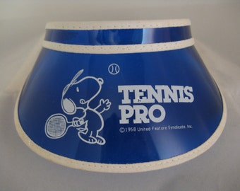vintage snoopy tennis pro visor 70s blue clear Peanuts snoopy doll accessory
