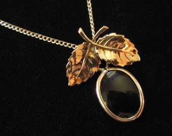 Gold Filled Black Onyx Pendant with Leaves, Gold Filled Chain
