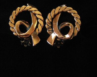 Copper Earrings, Rope Circles with A Twist